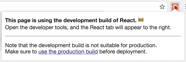 React DevTools on a website with development version of React